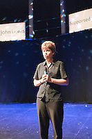 """Sarah Young rehearsing """"You'll Never Walk Alone"""".  Special Olympics Surrey put on a show,   """"Beyond the Stars"""", at the Rose Theatre, Kingston upon Thames to raise money for the  SOGB team.  The Special Olympics are for athletes with learning disabilities."""