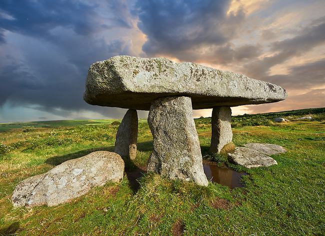 Lanyon Quoit is a megalithic burial dolmen from the Neolithic period, circa 4000 to 3000 BC, near Morvah on the Penwith peninsula, Cornwall, England