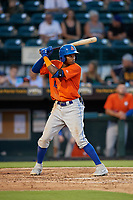 St. Lucie Mets Hansel Moreno (12) bats during a Florida State League game against the Bradenton Barbanegras on July 27, 2019 at LECOM Park in Bradenton, Florida.  Bradenton defeated St. Lucie 3-2.  (Mike Janes/Four Seam Images)