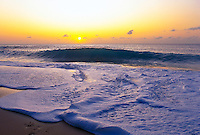 North shore sunset with surf,Oahu