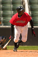 Kannapolis Intimidators first baseman Brandon Allen (#38) watches the flight of his 7th inning double versus the Charleston River Dogs at Fieldcrest Cannon Stadium in Kannapolis, NC, Monday, May 1, 2006.  The hit was one of only two the Intimidators could muster in a 1-0 loss to the River Dogs.