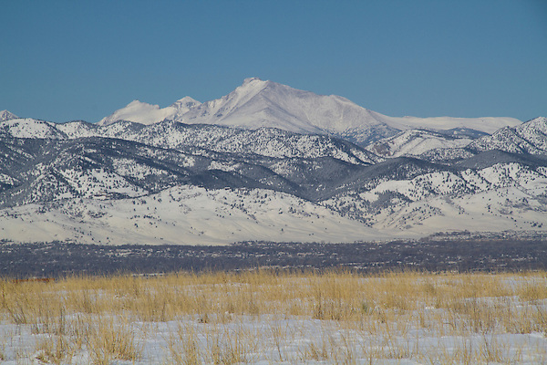 Longs Peak seen from a Boulder Valley overlook, winter, Boulder, Colorado, .  John leads private photo tours in Boulder and throughout Colorado. Year-round Boulder photo tours.