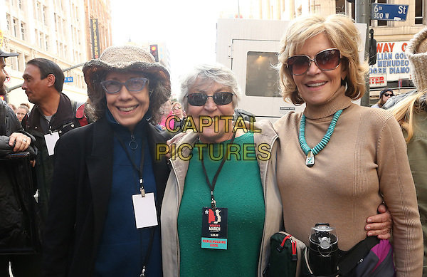 ALos Angeles CA - JANUARY 21: Lily Tomlin, Helen Reddy, Jane Fonda, At Women's March Los Angeles, At Downtown Los Angeles In California on January 21, 2017. <br /> CAP/MPI/FS<br /> ©FS/MPI/Capital Pictures