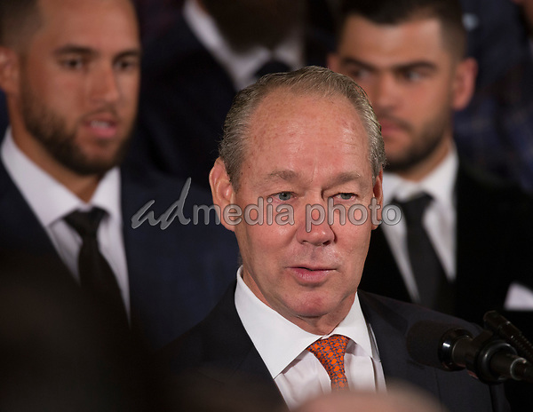 Jim Crane, owner of the Houston Astros, participates in the welcoming ceremony of Baseball's 2017 World Series Campions, the Houston Astros to The White House in Washington, DC, March 12, 2018. Photo Credit: Chris Kleponis/CNP/AdMedia
