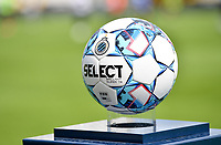 illustration picture showing a ball on the ball holder ahead of a female soccer game between Club Brugge Dames YLA and Standard Femina de Liege on the first matchday of the 2021 - 2022 season of Belgian Scooore Womens Super League , saturday 21 August 2021in Brugge , Belgium . PHOTO SPORTPIX   DAVID CATRY