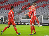 06.03.2021, Fussball 1. Bundesliga 2020/2021, 24. Spieltag, FC Bayern München - Borussia Dortmund, in der Allianz-Arena München. Jubel (L-R) Serge Gnabry (Bayern München), Joshua Kimmich (Bayern München) und Torschütze Leon Goretzka (Bayern München) zum Tor zum 3:2<br /> <br /> Foto: Bernd Feil/M.i.S./Pool<br /> <br /> Nur für journalistische Zwecke! Only for editorial use! <br /> DFL regulations prohibit any use of photographs as image sequences and/or quasi-video.    <br /> National and international NewsAgencies OUT. <br /> Bundesliga 2020/2021 <br /> photo Imago/Insidefoto <br /> ITALY ONLY