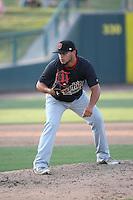 Gabriel Moya (21) of the Visalia Rawhide pitches against the Inland Empire 66ers at San Manuel Stadium on June 26, 2016 in San Bernardino, California. Inland Empire defeated Visalia, 5-1. (Larry Goren/Four Seam Images)