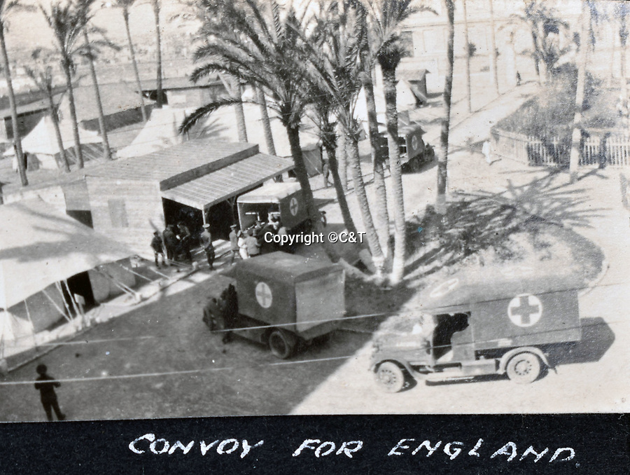 BNPS.co.uk (01202 558833)<br /> Pic: C&T/BNPS<br /> <br /> Wounded are shipped back to Blighty - This page shows the troops recovering in hospital in Alexandria.<br /> <br /> Never before seen photos of the disastrous Gallipoli campaign have come to light over a century later.<br /> <br /> The fascinating snaps were taken by Sub Lieutenant Gilbert Speight who served in the Royal Naval Air Service in World War One.<br /> <br /> They feature in his photo album which covers his eventful war, including a later stint in Egypt.<br /> <br /> There are dramatic photos of the Allies landing at X Beach, as well as sobering images of a mass funeral following the death of 17 Brits. Another harrowing image shows bodies lined up in a mass grave.<br /> <br /> The album, which also shows troops during rare moments of relaxation away from the heat of battle, has emerged for sale with C & T Auctions, of Ashford, Kent. It is expected to fetch £1,500.
