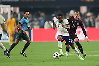 LAS VEGAS, NV - AUGUST 1: Kellyn Acosta #23 of the United States is marked by Rogelio Funes Mori #11 of Mexico during a game between Mexico and USMNT at Allegiant Stadium on August 1, 2021 in Las Vegas, Nevada.