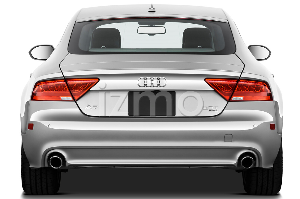 Straight rear view of 2012 Audi A7 Sportback 4 Door Hatchback stock images