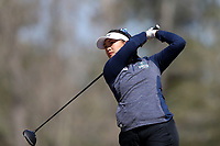 WALLACE, NC - MARCH 09: Thao My Nguyen of UNC Wilmington tees off on the 15th hole of the River Course at River Landing Country Club on March 09, 2020 in Wallace, North Carolina.