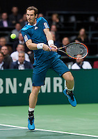 Rotterdam, The Netherlands. 13.02.2014. Andy Murray at the ABN AMRO World tennis Tournament<br /> <br /> Photo:Tennisimages/Henk Koster