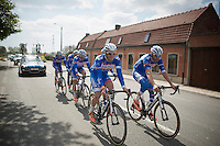 Jempy Drucker (LUX/Wanty-GroupeGobert) & Frederik Veuchelen (BEL/Wanty-GroupeGobert) up front<br /> <br /> 2014 Paris - Roubaix reconnaissance