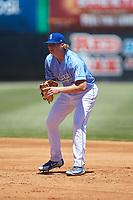 Burlington Royals first baseman Rhett Aplin (33) on defense against the Greeneville Reds at Burlington Athletic Stadium on July 8, 2018 in Burlington, North Carolina. The Royals defeated the Reds 4-2.  (Brian Westerholt/Four Seam Images)
