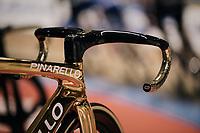 Olympic Omnium Champion Elia Viviani (ITA/Team Sky) has a golden bike to ride the Ghent 6day<br /> <br /> Belgium 2017