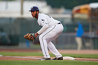 Princeton Rays first baseman Vincent Byrd (24) during the second game of a doubleheader against the Johnson City Cardinals on August 17, 2018 at Hunnicutt Field in Princeton, Virginia.  Princeton defeated Johnson City 12-1.  (Mike Janes/Four Seam Images)