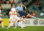 Matt Jurman of Sydney FC attempts to get a touch before a goal by teammate Brandon O'Neill during the AFC Champions League Round of 16 between SYDNEY FC (AUS) and SHANDONG LUNENG FC (CHN) on 25 May 2016 held at Sydney Football Stadium in Sydney, Australia. Photo by Mark Metcalfe / Power Sport Images<br /> *** Local Caption *** Matt Jurman