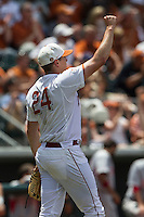 Texas Longhorns starting pitcher Parker French (24) celebrates after getting out of a jam during the NCAA Super Regional baseball game against the Houston Cougars on June 7, 2014 at UFCU Disch–Falk Field in Austin, Texas. The Longhorns are headed to the College World Series after they defeated the Cougars 4-0 in Game 2 of the NCAA Super Regional. (Andrew Woolley/Four Seam Images)