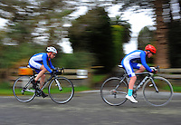 St Kentigern College year 7 and 8 boys in action during the NZ Schools Road Cycling championship day one team time trials at Koputaroa Road, Levin, New Zealand on Saturday, 27 September 2014. Photo: Dave Lintott / lintottphoto.co.nz