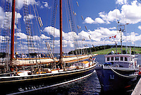 Nova Scotia, Lunenburg, NS, Canada, Ship exhibit at the Fisheries Museum of the Atlantic at the scenic village of Lunenburg, UNESCO World Heritage Site, on the Atlantic Ocean.