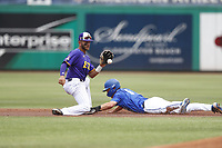 East Carolina Pirates second baseman Connor Norby (1) fields a throw as Zach Wilson (6) takes second on a wild pitch during a game against the Memphis Tigers on May 28, 2021 at BayCare Ballpark in Clearwater, Florida.  (Nathan Ray/Four Seam Images)
