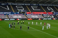 A minutes applause is taken by both teams for the NHS during the Sky Bet Championship match between Swansea City and Luton Town at the Liberty Stadium in Swansea, Wales, UK. Saturday 27 June 2020.