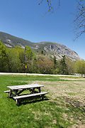 View of Franconia Notch from Lafayette Place in Franconia Notch State Park in Lincoln, New Hampshire during the spring months. Cannon Cliff is in the background.