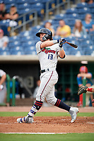 Fort Myers Miracle left fielder Shane Carrier (13) at bat during a game against the Clearwater Threshers on May 31, 2018 at Spectrum Field in Clearwater, Florida.  Clearwater defeated Fort Myers 5-1.  (Mike Janes/Four Seam Images)