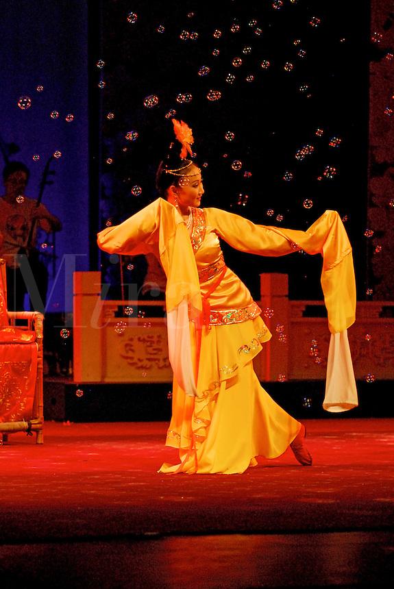 Traditional dancing in bubbles, Sichuan Opera, Chengdu, China.