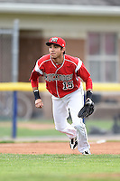 Batavia Muckdogs shortstop Hiram Martinez (15) during a game against the Mahoning Valley Scrappers on June 20, 2014 at Dwyer Stadium in Batavia, New York.  Batavia defeated Mahoning Valley 7-4.  (Mike Janes/Four Seam Images)