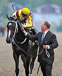 16 May 09: Jockey Calvin Borel and assistant trainer Scott Blasi enjoying the monent after Rachel Alexandra's win in  the Preakness Stakes at Pimlico Race Course in Baltimore, Maryland on Preakness Day.