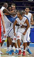 French national basketball team players celebrate victory in semifinal basketball game between France and Russia in Kaunas, Lithuania, Eurobasket 2011, Friday, September 16, 2011. (photo: Pedja Milosavljevic)