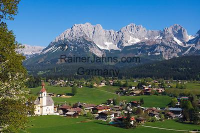 AUT, Oesterreich, Tirol, Kaiserwinkl, Going: Ferienort vorm Wilden Kaiser Gebirge | AUT, Austria, Tyrol, Kaiserwinkl, Going: holiday resort and Wilder Kaiser mountains