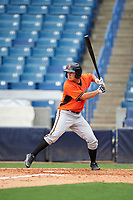 Austin Langworthy (15) of Williston High School in Columbus, Georgia playing for the Baltimore Orioles scout team during the East Coast Pro Showcase on July 28, 2015 at George M. Steinbrenner Field in Tampa, Florida.  (Mike Janes/Four Seam Images)