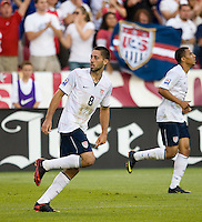 Clint Dempsey celebrates his goal, USA 2-1 over El Salvador in a CONCACAF World Cup qualifying match at Rio Tinto Stadium, in Sandy Utah, Saturday, September 5, 2009.