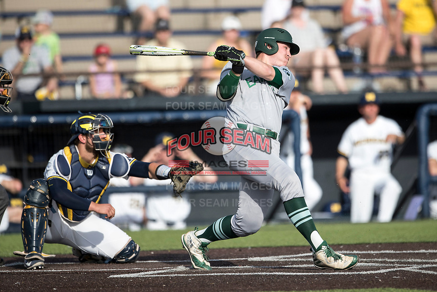 Eastern Michigan Eagles designated hitter John Rensel Jr. (34) follows through on his swing during the NCAA baseball game against the Michigan Wolverines on May 16, 2017 at Ray Fisher Stadium in Ann Arbor, Michigan. Michigan defeated Eastern Michigan 12-4. (Andrew Woolley/Four Seam Images)