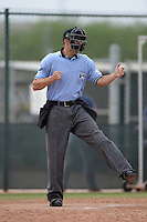 Umpire Travis Eggert makes a call during an Instructional League game between the Kansas City Royals and Cleveland Indians on October 9, 2013 at Surprise Stadium Training Complex in Surprise, Arizona.  (Mike Janes/Four Seam Images)