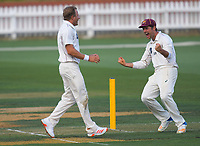 Neil Wagner celebrates dismissing Michael Bracewell for one during day one of the Plunket Shield men's cricket match between Wellington Firebirds and Northern Districts at the Basin Reserve in Wellington, New Zealand on Saturday, 27 March 2021. Photo: Dave Lintott / lintottphoto.co.nz