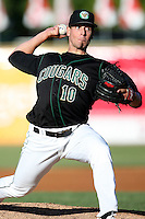 May 14, 2009: Kane County Cougars starting pitcher Brett Hunter (10) on the mound against the Burlington Bees.  Photo by: Chris Proctor/Four Seam Images