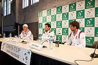 15-09-12, Netherlands, Amsterdam, Tennis, Daviscup Netherlands-Suisse, Press conference captain Jan Siemerink jean-Julien Rojer and Robin Haase l.t.r.