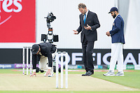Kane Williamson gives the wicket a test before the toss during India vs New Zealand, ICC World Test Championship Final Cricket at The Hampshire Bowl on 19th June 2021