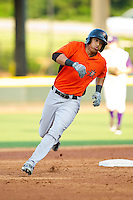 Brenden Webb (17) of the Frederick Keys hustles towards third base against the Winston-Salem Dash at BB&T Ballpark on May 28, 2013 in Winston-Salem, North Carolina.  The Dash defeated the Keys 17-5 in the first game of a double-header.  (Brian Westerholt/Four Seam Images)