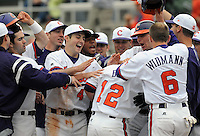 Clemson's Wilson Boyd is congratulated after crossing the plate with a home run during a game between the Mercer Bears and Clemson Tigers at Doug Kingsmore Stadium in Clemson, S.C. Boyd hit two home runs in the same inning. Photo by:  Tom Priddy/Four Seam Images