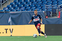 FOXBOROUGH, MA - JULY 9: Pierre Cayet #44 of New England Revolution II dribbles during a game between Toronto FC II and New England Revolution II at Gillette Stadium on July 9, 2021 in Foxborough, Massachusetts.