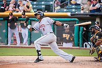 Carlos Triunfel (8) of the Sacramento River Cats at bat against the Salt Lake Bees in Pacific Coast League action at Smith's Ballpark on April 20, 2015 in Salt Lake City, Utah.  (Stephen Smith/Four Seam Images)