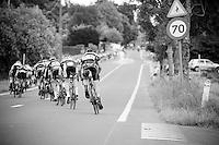 stretched peloton speeding up after a corner<br /> <br /> 69th Halle-Ingooigem 2016 (200km)
