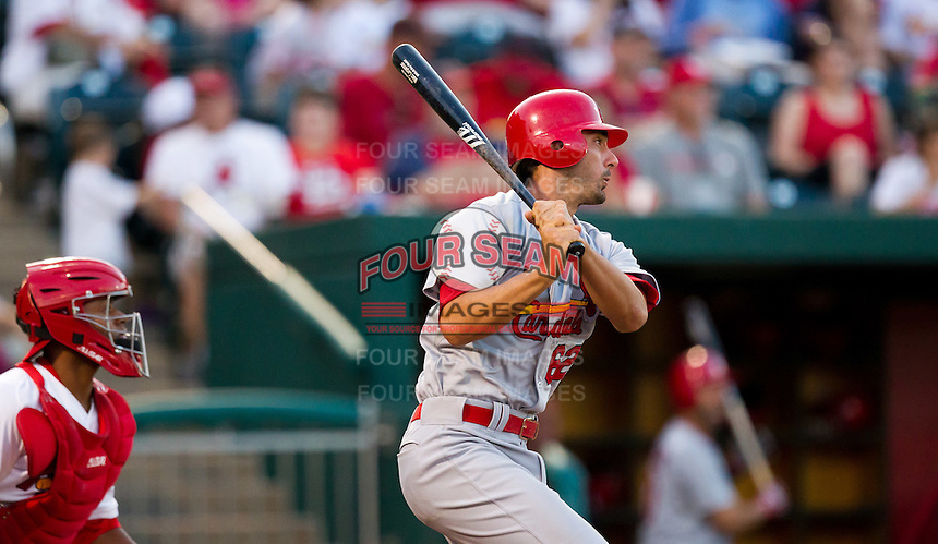 Matt Carpenter (62) of the St. Louis Cardinals follows through his swing during a game against the Springfield Cardinals at Hammons Field on April 2, 2012 in Springfield, Missouri. (David Welker/Four Seam Images)