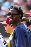 Wisconsin Timber Rattlers outfielder Je'Von Ward (4) in the dugout during a game against the Cedar Rapids Kernels on September 8, 2021 at Neuroscience Group Field at Fox Cities Stadium in Grand Chute, Wisconsin.  (Brad Krause/Four Seam Images)