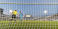 Orlando, FL - Saturday Jan. 21, 2017: São Paulo goalkeeper Denis (1) shakes hands with the assistant referee prior to the first half of the Florida Cup Championship match between São Paulo and Corinthians at Bright House Networks Stadium.