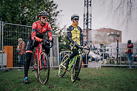 former CX World Champ turned fulltime roadie BOOM Lars (Ned/Roompot-Charles) dropping back into the dirt for this occasion; checking the U23-riders before checking the course himself<br /> <br /> Brussels Universities Cyclocross (BEL) 2019<br /> Elite Men's Race<br /> DVV Trofee<br /> ©kramon